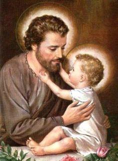 St Joseph and Jesus Catholic Prayers, Catholic Art, Catholic Saints, Religious Art, Blessed Mother Mary, Blessed Virgin Mary, St Joseph Catholic, Christian Images, Religious Pictures