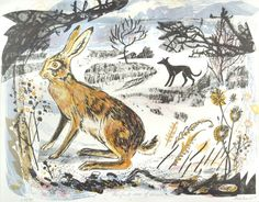 First Snow of Winter - a greetings card reproduced from a lithograph by Mark Hearld Glasgow School Of Art, Rabbit Art, Jack Rabbit, British Wildlife, Royal College Of Art, Linocut Prints, Gravure, Hare, Printmaking