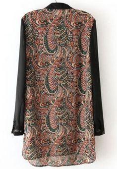#SheInside Black Long Sleeve Tribal Print Buttons Dress - Sheinside.com