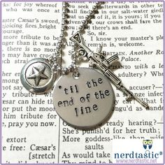 Til the end of the line stamped tag (captain america, winter soldier) Best Friend Necklaces.  Free Shipping.