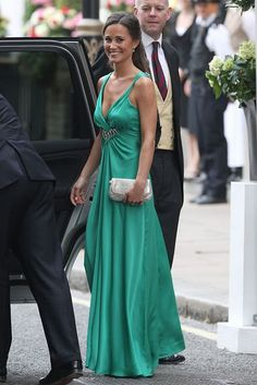 Pippa Middleton goes to the evening reception at Buckingham Palace on the wedding day of her sister Kate and Prince William.