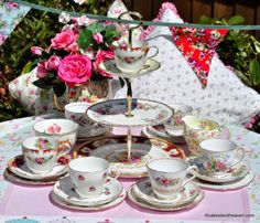 Vintage Florals Eclectic Tea Set for Six with 3 Tier Cake Stand
