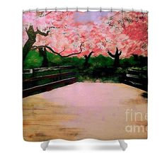Shower Curtains - Blossom Bridge Shower Curtain by Kevin J Cooper Artwork