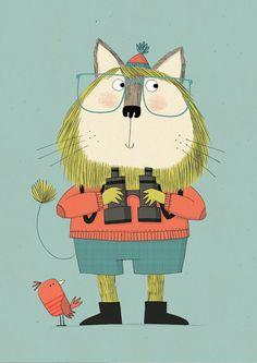 ornitólogo, ilustración de Kate Hindley