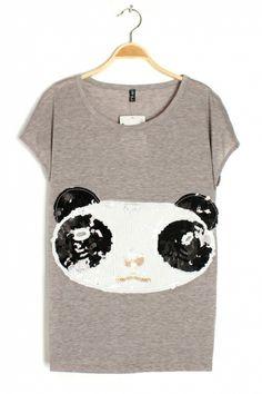 Sequin Panda Applique T-shirt