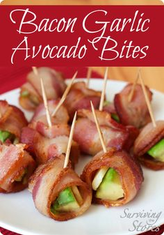Try Bacon Garlic Avocado Bites for your next party! A delicous appetizer that can be enjoyed by all! #lowcarb #paleo #glutenfree