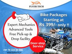 Get the best possible bike service available for just Rs 399 /- only!!! More details here: https://goo.gl/55bvUu #Bikeservice #FlyerTech #Marathahalli