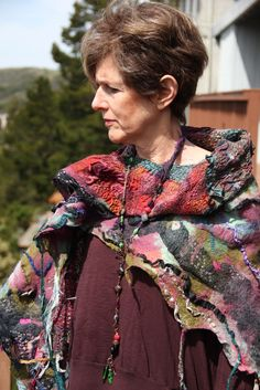 Nuno Felted shawl made with men's ties.