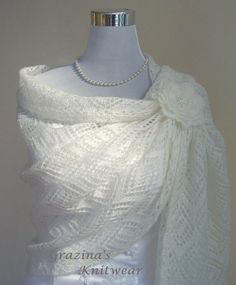 Hand Knit Natural White color Luxury Mohair by GrazinasKnitwear, £47.00