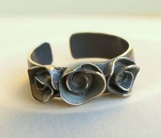 Oxidized Sterling Three Rose Ring