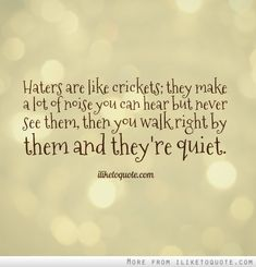 Haters are like crickets; they make a lot of noise you can hear but never see them, then you walk right by them and they're quiet. The best collection of quotes and sayings for every situation in life. Truth Quotes, Best Quotes, Love Quotes, Inspirational Quotes, Quiet Quotes, Awesome Quotes, Haters Be Like, Dear Haters, Quotes About Haters