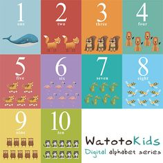 Printable Numbers set One to Ten set Flash cards by MartaMunte