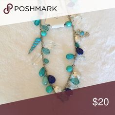 """☀️Loft Blue Bead Necklace with Seahorse and Horn ☀️Loft Blue Bead Necklace with Seahorse and Horn. Brand new with tags. Measures 40"""" in length LOFT Jewelry Necklaces"""