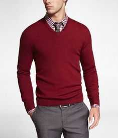 MERINO WOOL V-NECK SWEATER at Express I like the Grey-Red combo….