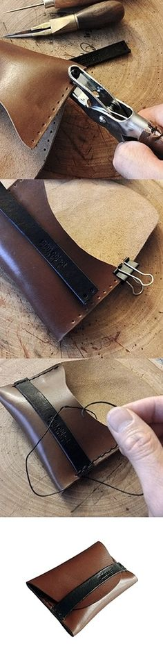 Training project. Hand stitching and shaping leather resonates with a woodworker.