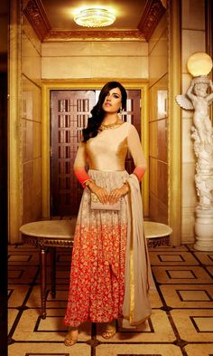 Orange Shaded Georgette Designer Anarkali Suit #SalwarSuits #snapdeal #India