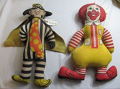 VINTAGE 1970s HAMBURGLAR & RONALD MCDONALD STUFFED CLOTH DOLL TOY~RESTAURANT I have the Ronald McDonald doll