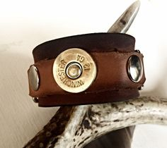 Leather Cuff with Shotgun Shell, Personalized Leather Cuff for Outdoorsmen…