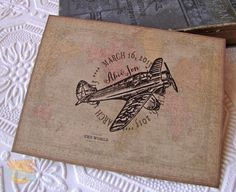 Vintage Wedding Invitation-Rustic Destination Wedding- World Map- Airplane