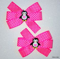 Neon Pink & White Polka Dot Penguin Boutique Bow Pair, Hot Pink Ribbon Hair Clip, Girls Barrette, Hair Bow, Hairbow Heart, Girly Penguins by SmoreCrafty on Etsy $6 for the Pair