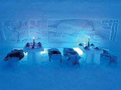 Ice Restaurant in Snow Village Canada, Montreal