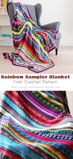 Simply Crochet, Free Crochet, Knit Crochet, Afghan Crochet Patterns, Knitting Patterns, Left Handed Crochet, Striped Crochet Blanket, Crochet Blankets, Summer Knitting