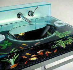 aqurium sink ♥♡♥ How would you like to brush your teeth over this sink every morning and night?