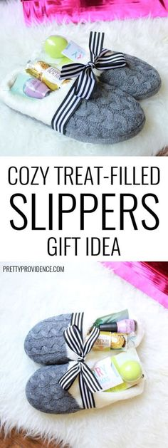 Everyone loves to be pampered with soft, pretty and yummy stuff!  Grab some fuzzy and comfy slippers and fill them up with nail polish, lip balms, chocolates and a gift card! Cozy Treat Filled Slippers Gift Idea