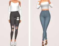 coastal jeans; high waisted skinny jeans with two versions: cuffed and a normal version. you can have both in your game at the same time. some plain & some ripped swatches! unedited cas preview...