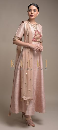 Buy Online from the link below. We ship worldwide (Free Shipping over US$100)  Click Anywhere to Tag  Powder-Peach-Anarkali-Suit-In-Raw-Silk-With-Embroidered-Bird-Cage-Motif-Online-Kalki-Fashion