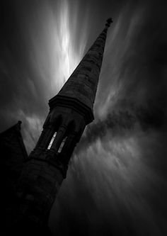 ☾ Midnight Dreams ☽ dreamy & dramatic black and white photography - night steeple Darkness Falls, Dark Places, Dark Night, Dark Beauty, Shades Of Black, Dark Art, Black And White Photography, Dark Side, Paranormal