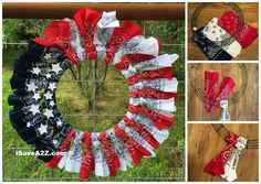 Red, White and Blue Bandana Flag Wreath. Bug and I made this today. It was so easy, cheap and fun. It looks so cute! S.S 6-23-16