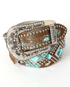 Angel Ranch Ladies' Blue Acid Studded Belt - www.fortwestern.com