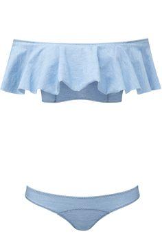Lisa Marie Fernandez Mira Faded Denim Flounce Bikini...