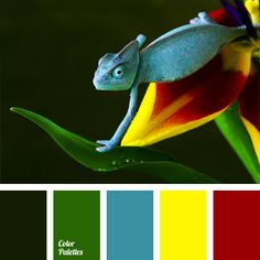 Bright and sunny mix of green, blue, yellow and sanguine red is contrasted by black. This palette will suit for decoration of a nursery room, as well as rooms for children's and family holidays. It can be also used for carnival costumes.