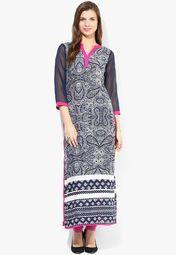 Raindrops Navy Blue Printed Kurti Online Shopping Store Best Online Fashion Stores, Online Shopping Stores, Long Kurtis, Printed Kurti, Easy Costumes, Buy Shoes, Shoe Brands, Salwar Kameez, Asian Clothes