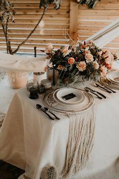 boho sweetheart table with macrame chargers joshua tree elopement Elope Wedding, Wedding Shoot, Chic Wedding, Wedding Styles, Wedding Dress, Elopement Wedding, Wedding Table Settings, Sweetheart Table, Elopement Inspiration