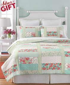 Martha Stewart Collection Aqua & Coral Patchwork Posey Quilts; macys.com; $160 for Qn. Quilt & shams; 100% Cotton