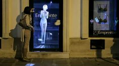 In May 2012, French lingerie label Empreinte incorporated cutting-edge holographic technology into its store interiors, in a promotional campaign to launch its new Paris store. A ghostly lingerie-clad figure could be observed by consumers peering in through the windows – stalking the store at night before eventually vanishing in a shower of stars.