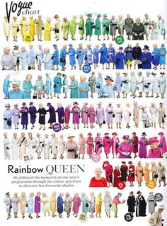 Rainbow of the Week: A Year in the Life of Queen Elizabeth II's Closet in Vogue UK