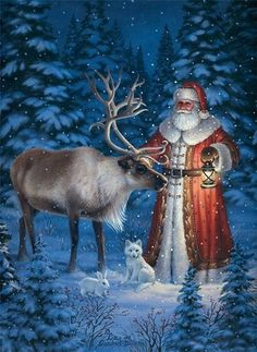 Santa Claus/Father Christmas with his Reindeer Christmas Scenes, Father Christmas, Victorian Christmas, Vintage Christmas Cards, Santa Christmas, Christmas Pictures, Winter Christmas, Christmas Holidays, Primitive Christmas
