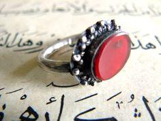 Bague Afghane ancienne Argent et Agate par Carvanserail sur Etsy