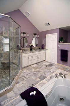 purple bathroom--not feelin' the wall color, but I like the tile.