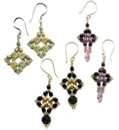 Any Bead Earrings Pattern by Deborah Roberti at Bead-Patterns.com. Lots of FREE Beading Patterns/Tutorials are available from various designers!