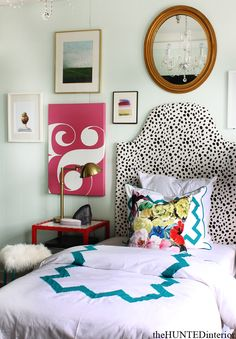 Spotted Headboard | Graphic Duvet | Gallery Wall | Task Lamp