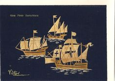 Columbus ships Nina Pinta Santa Maria Handmade by museumshop, $10.00. No two leaf art looks exactly alike!