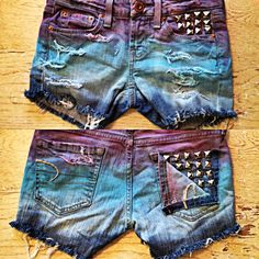 Dip dye studded shorts distressed - I would never wear these but they look awesome!