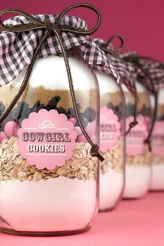 Cowgirl Cookies mix in mason jars.