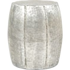 Accent Drum Side Table in Aluminum #dynamichome #aluminum #silver #metal #table #stool #sidetable #homedecor #metallic #style #decor #boho #chic #industrial #rustic #modern #interiors #interiordesign