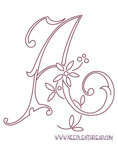 Free Hand Embroidery Pattern: Monogram, Letter A - may paint this in Alana's room instead of doing wooden letters or something...